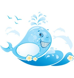 Funny whale vector