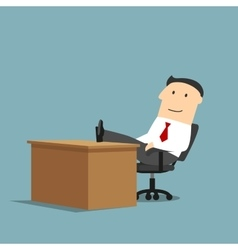 Businessman resting with feet on the table vector