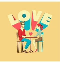Young man and woman at the table vector