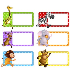 Wild animals on square tags vector