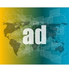 Ad word on digital screen global communication vector