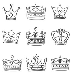 Art crown various sketch vector