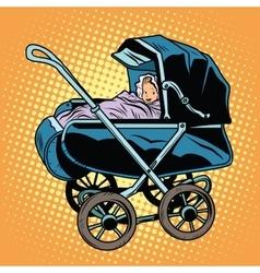 Baby nursery retro stroller vector