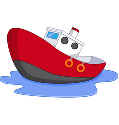 Cartoon boat with water vector