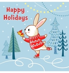 Christmas card with a hare who skates vector image