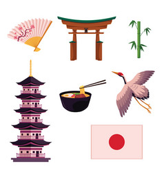 collection of japanese culture symbols icons vector image