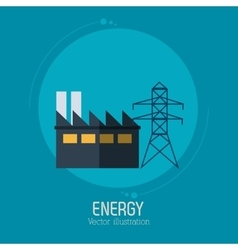 Energy factory tower electricity symbol blue vector