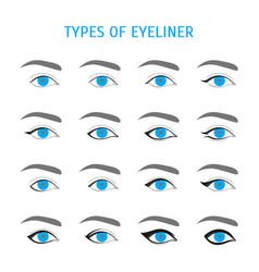 eyeliner stylish make up thin line icon set vector image vector image