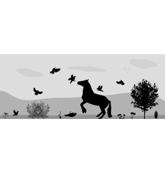 Fight horses and birds in nature vector