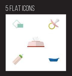 flat icon child set of nipple napkin feeder and vector image