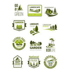Green landscape and gardening company icons vector
