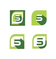 Green letter s logo set vector