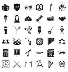 Hearing icons set simple style vector