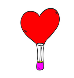 Hot air balloon love on a white background vector