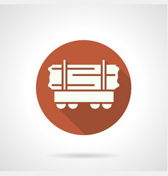 Long loads open rail car orange round icon vector