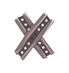 Original letter x formed by two crossed steel vector
