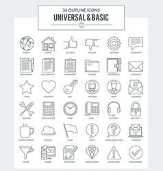 outline icons of basic vector image vector image