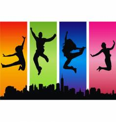 people jumping for joy vector image vector image