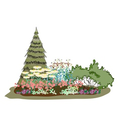 Picturesque island of flowers vector