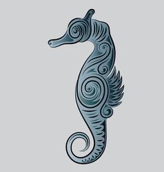 Sea horse ornament vector