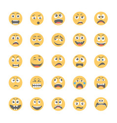 Smiley flat icons set 12 vector