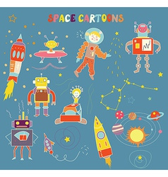 Space cartoons for child vector image