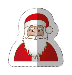 Sticker half body cartoon santa claus portrait vector