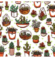 Succulents and cacti color sketch pattern vector