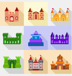 Types of fortress icons set flat style vector