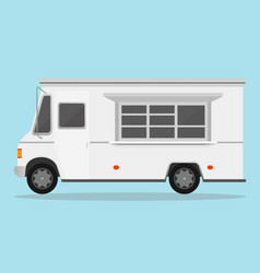 white fast food trailer vector image vector image