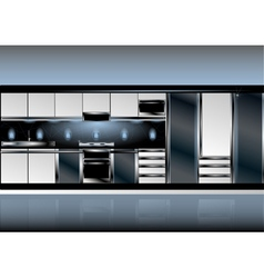 White kitchen in high tech style vector