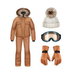 Winter apparel set vector