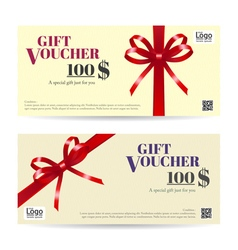 Gift voucher brown red ribbon vector