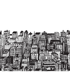 Vintage with hand drawn big city vector