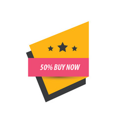 Label buy now and 3 star pink yellow black vector