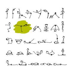 Yoga set sketch for your design vector