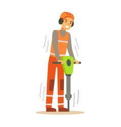 Road worker in headphones working with jackhammer vector
