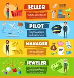 Banners seller pilot manager or jeweler vector