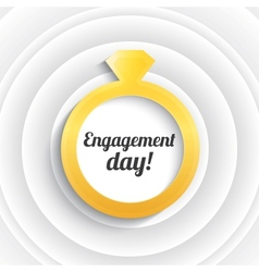 Wedding ring with diamond engagement day vector