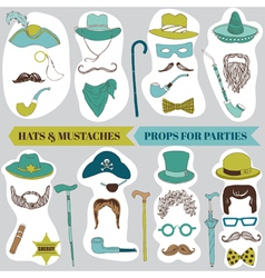 Photo booth party set - glasses hats lips mustache vector