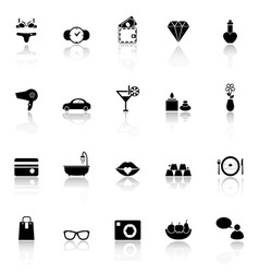 Lady related item icons with reflect on white vector