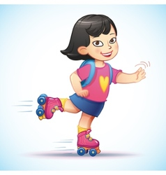 Little asian girl rides on roller skates teen vector