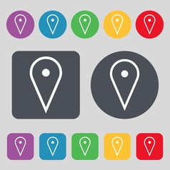 Map poiner icon sign a set of 12 colored buttons vector