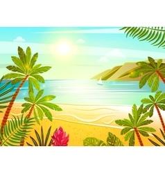 Tropical sea beach flat poster print vector image