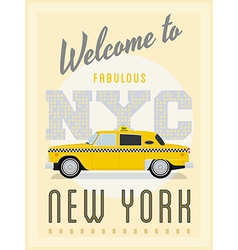 Retro new york taxi poster vector