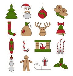 Line craft icons set of christmas theme vector