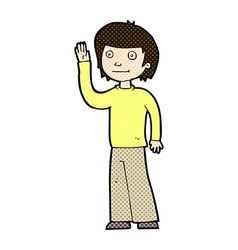 Comic cartoon friendly boy waving vector
