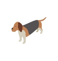 Basset hound dog icon isometric 3d style vector