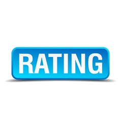 Rating blue 3d realistic square isolated button vector