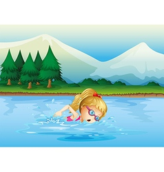 A girl swimming near the pine trees vector image vector image